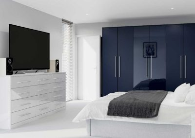 Zeluso Midnight Blue - with Furore Grey Silk - fitted bedroom furniture