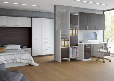 Zeluso White Black Oak - LS White - fitted bedroom furniture